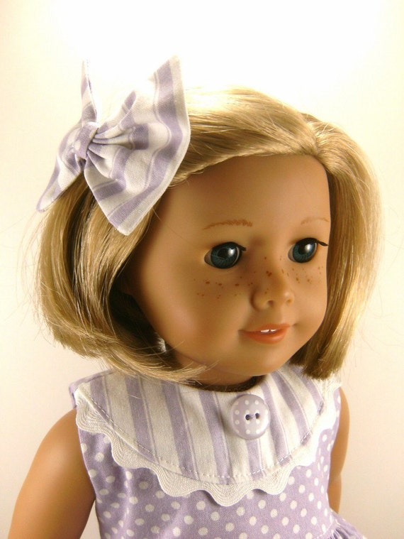 Made For American Girl Doll Other 18 Inch Dolls Lavender and White Dots and Stripes Sleeveless  Dress and Matching Hair Bow Made To Order