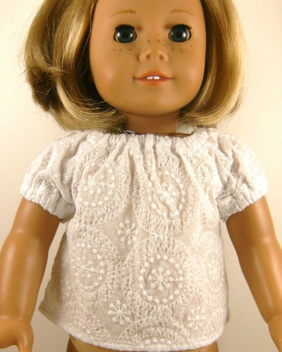 Doll Peasant Top Fits American Girl and Bitty Baby Sized Dolls White Embroidered Shirt Blouse Girls Toy