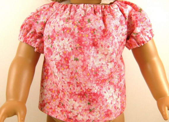 Doll Peasant Top Fits American Girl and Bitty Baby Sized Dolls Super Sweet Pink Peasant Blouse Girls Toy
