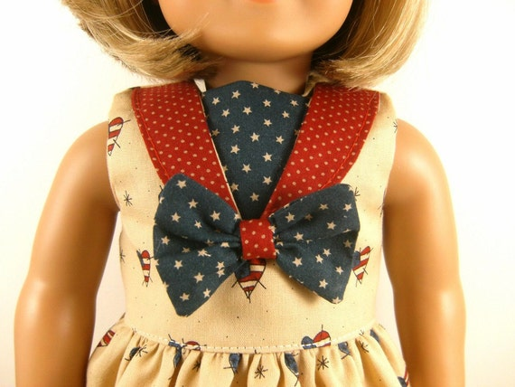 Fits American Girl Doll - Other 18 Inch Dolls - Nautical 4th of July Americana Dress Red Tan and Blue and Hair Bow One of A Kind