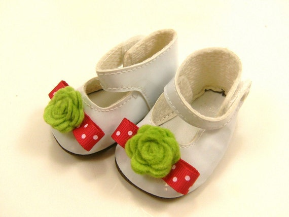 """Fits American Girl Doll Other 18"""" Dolls Shoes Embellished Mary Jane Shoes White with Bright Neon Green Wool Felt Flowers and Hot Pink Bows"""
