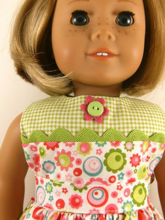 Made For American Girl Doll Other 18 Inch Dolls Bright Neon Print Split Bodice Sleeveless  Dress Matching Hair Bow