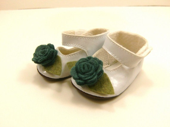 """Fits American Girl Doll Other 18"""" Dolls Shoes Embellished Mary Jane Shoes White with Wool Felt Flowers Leaves"""