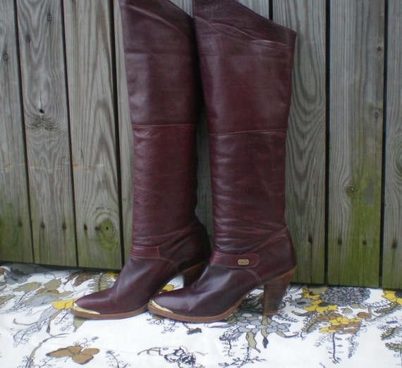 70s Burgundy Leather OVER THE KNEE BOOTS, size 8