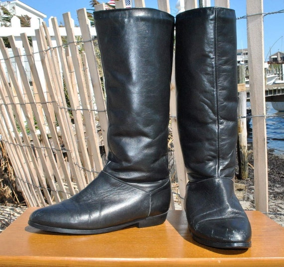 70s BLACK Shearling Lined Boots, size 7 1/2