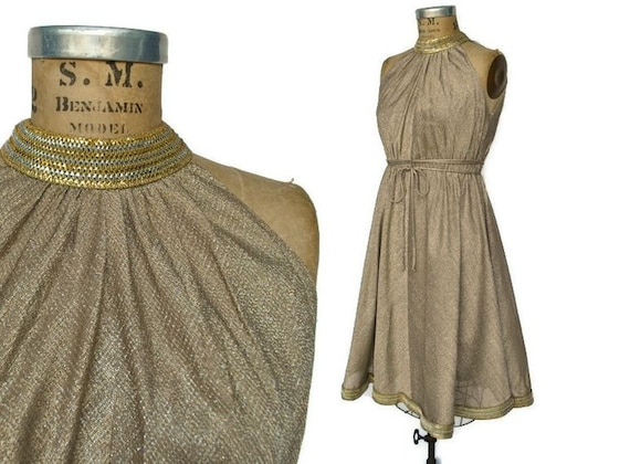 1970s Grecian Dress / gold and silver metallic / Saks Fifth Avenue / S-M