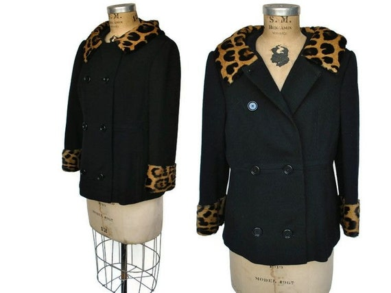 Reserved for Farallone...Black Wool Pea Coat / 1960 jacket / leopard fur / S-M