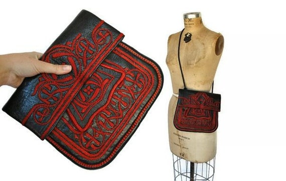 Embroidered Leather Bag Purse / black and red / 1970s boho