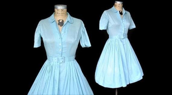 1950s Day Dress / baby blue cotton dress / XS