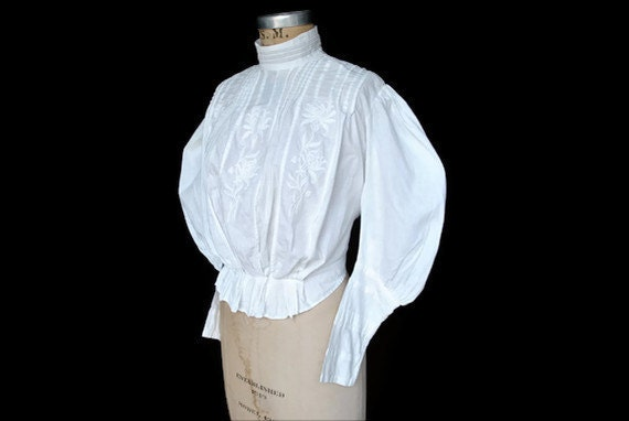 Reserved for Dolly Diamond....Antique Victorian Blouse / white cotton