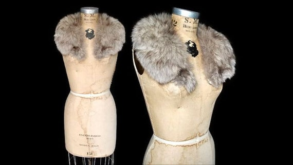 Silver Fox Fur Collar / 60s genuine fur / clip on