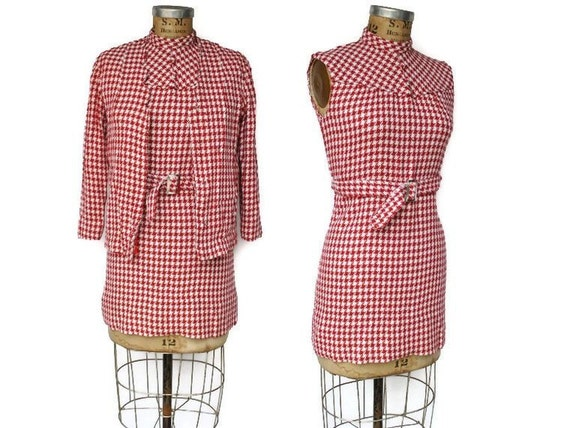 1960s Mini Shift Dress with Matching Jacket / red and white tweed suit set / S-M