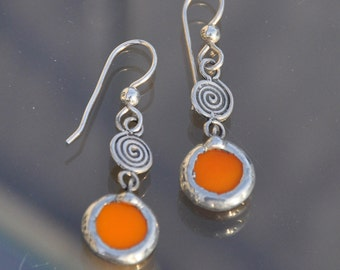Orange Spiral Dot Earrings