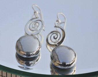 Silver spiral grey glass earrings