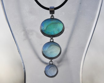 Shades Of The Sea Three Piece Drop Necklace On Leather