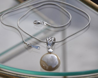 Pearl taupe glass drop necklace
