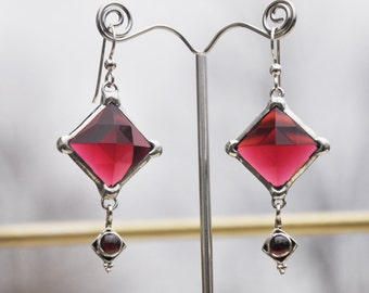 Faceted cranberry red diamond glass earrings