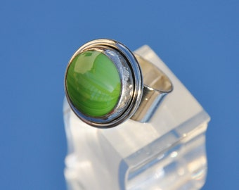 Lime green glass ring