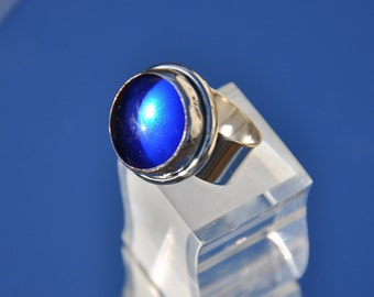 Ultra marine blue glass and silver ring