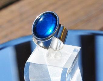 Capri blue glass bold silver ring