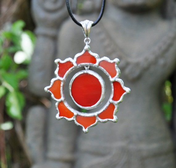 Red Sun lotus necklace
