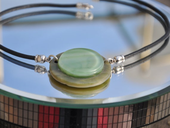 Fused green glass bindu choker