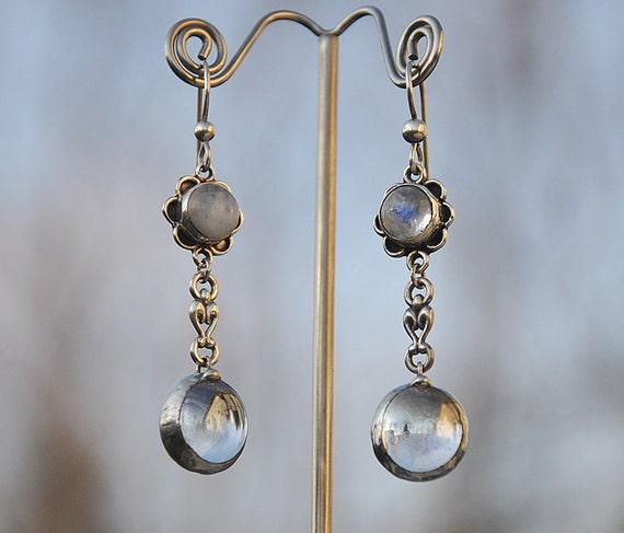 Flower moons stone dangle drop earring