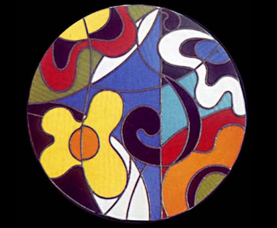 Stained glass sixties window