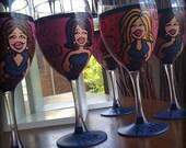 Bridesmaids (4 glasses) Custom Hand Painted Wedding Glassware