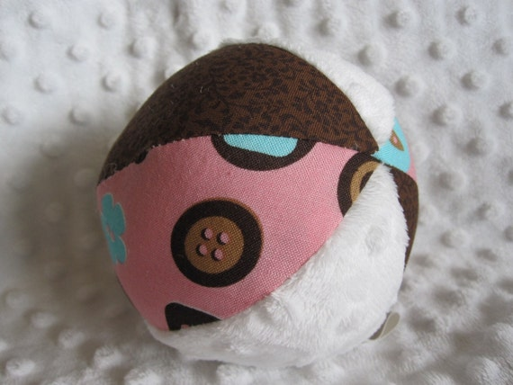 Fabric Jingle Ball Baby Toy with Pink Button Fabric and Minky