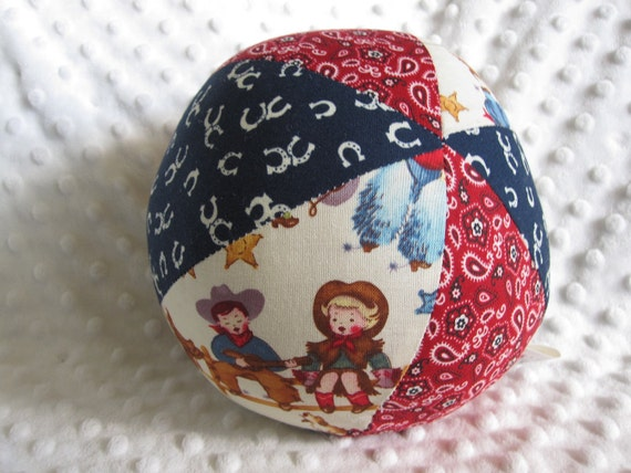 Large Fabric Jingle Ball Baby Toy with Cowboy Kids fabric