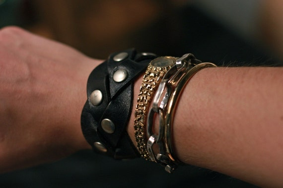 Woven Leather Cuff (small)