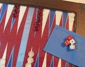 Backgammon Game Board Americana IN STOCK Applique in Frame