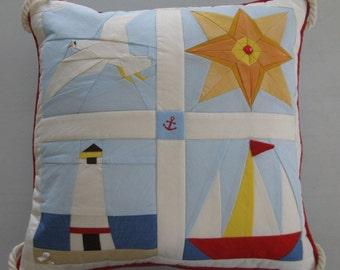 Quilted Pillow Nautical Ocean Beach