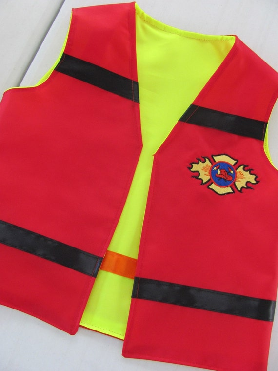 CUSTOM Boys Reversible Vest Fireman Construction Worker Make Believe Dress Up Play