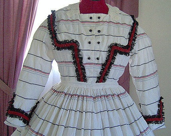 FOR ORDERS ONLY - Custom Made for You - 1800s Victorian Dress - 1860s Civil War Day Gown - Reenacting Costume Skirt Bodice
