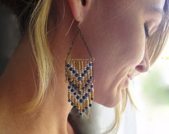 Southwestern Chandelier Earrings with Chevron Fringe Design in Gold, Silver and Blue Lapis - Tribal earrings