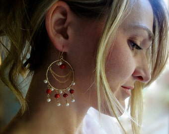 Exotic Chandelier Earrings with Coral and Freshwater Pearls - Boho Chic Earrings