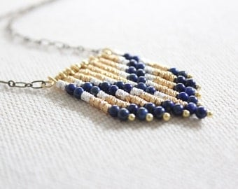 Southwestern Blue Lapis Necklace - Tribal Necklace with Chevron Pattern
