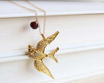 Gold Swallow Charm Pendant Necklace