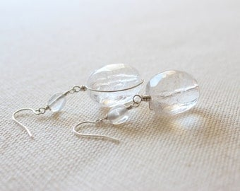 SALE! Modern Drop Earrings with Large Crystal Quartz Stones