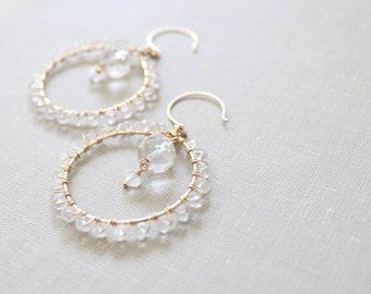 Romantic Crystal Quartz Chandelier Earrings - Wedding, Bridal, Special Occasion