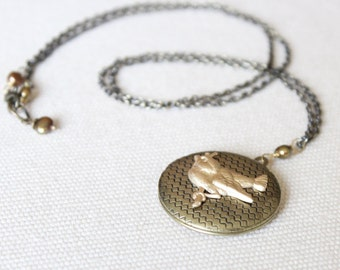 SALE! Locket - Antique Brass with Sweet Bird Accent on Long Chain