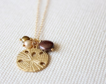 SALE! Sand Dollar Necklace - Delicate Gold and Pearl Charm Necklace