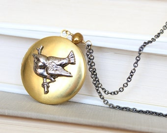 SALE! Long Antique Locket - Vintage Brass Locket with a Silver Bird Resting on a Branch