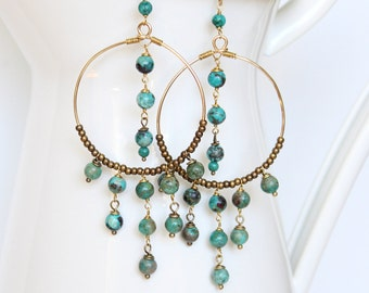 Boho Chic Chandelier Earrings - Turquoise, Antique Brass and Gold