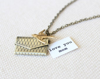 Secret Message Locket - Antique Brass Envelope with Brass Swallow Charm Small