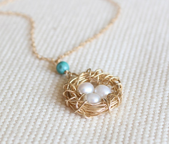 RESERVED for Daniel - Gold Bird Nest Necklace with Three Pearl Eggs - Gold fill wire and chain for Mother's Day