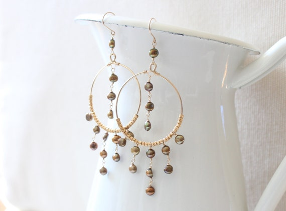 Gold Boho Chic Chandelier Earrings with Gold Pearls - Bohemian, Exotic, Fun