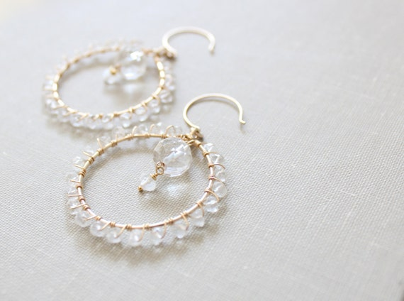 Romantic Crystal Quartz Chandelier Earrings - Wedding, Bridal, Special Occasion